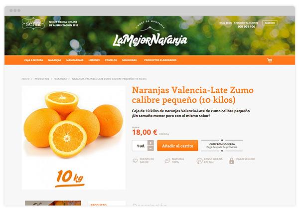 Ficha de producto de LaMejorNaranja