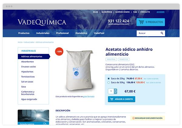 Ficha de producto de Vadequímica