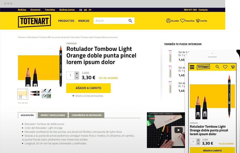 Versión multidispositivo de Totenart, tienda online de manualidades
