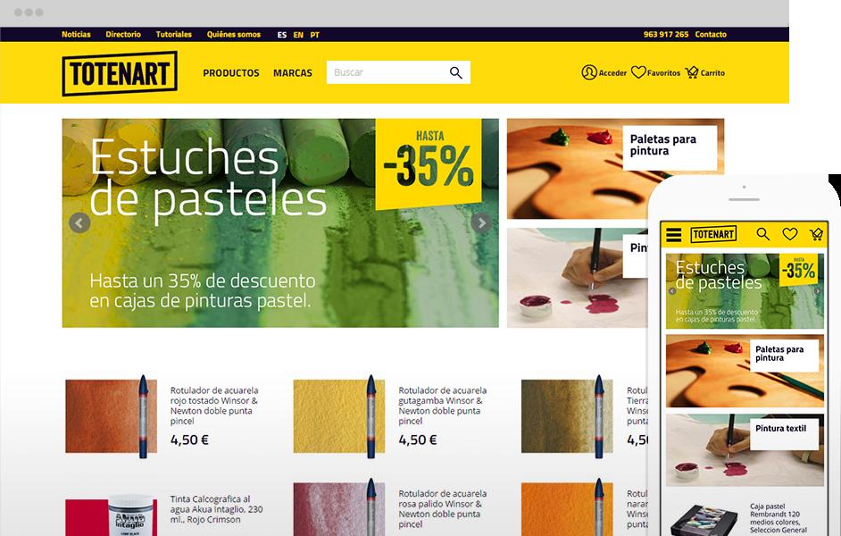 Versión multidispositivo de la tienda online de bellas artes de Totenart