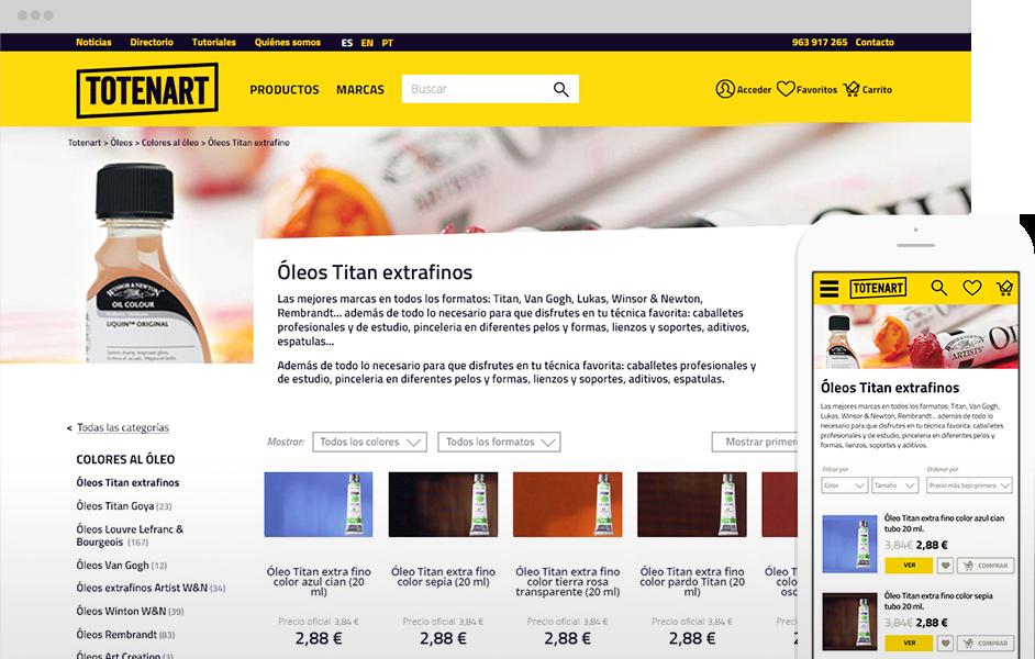 Versión desktop y mobile de la tienda online de Totenart