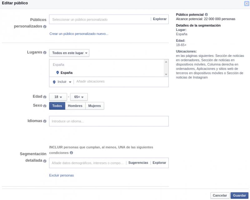 segmentación publicos facebook