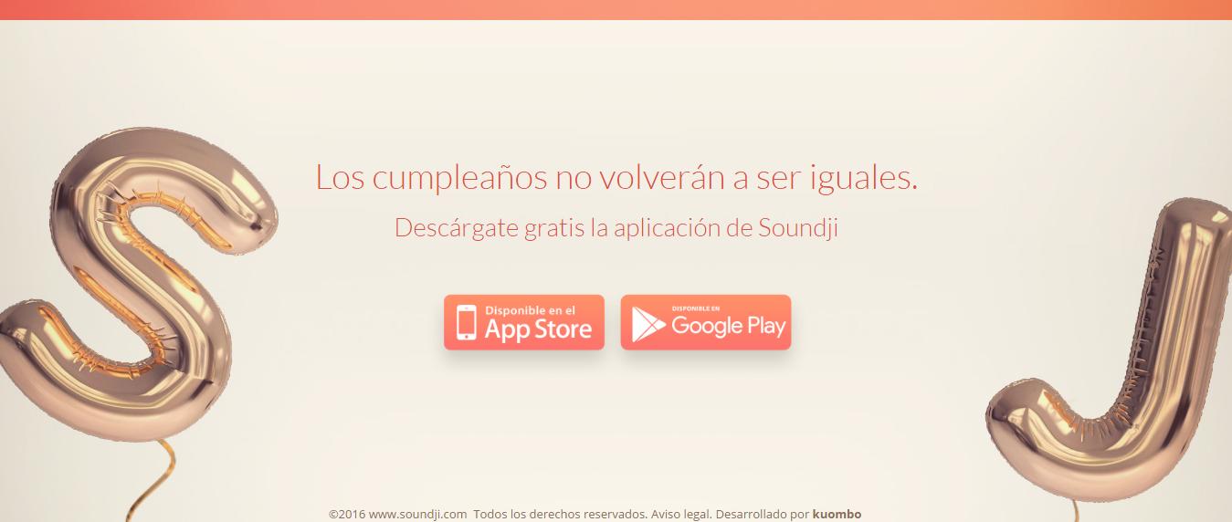 Web de Soundji donde descargar la aplicación.