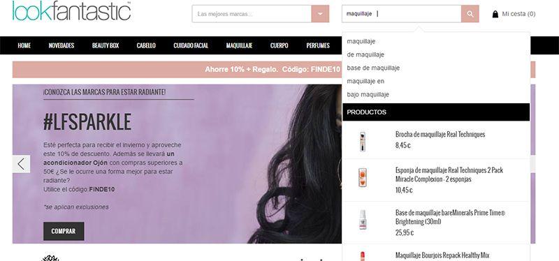 Buscador interno de LookFantastic.es