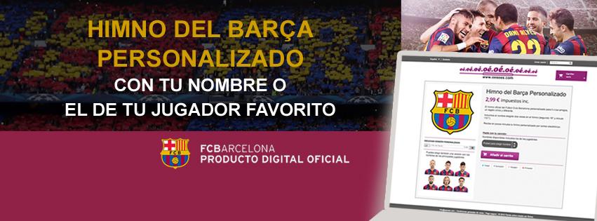 Publicidad en la web del Barça para personalizar el himno.
