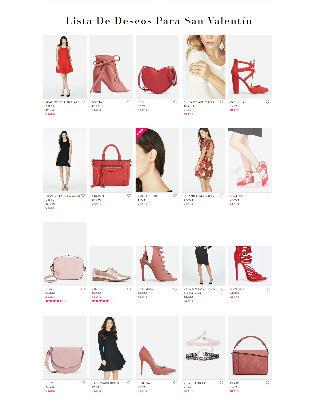 acciones marketing san valentin - lista deseos JustFab