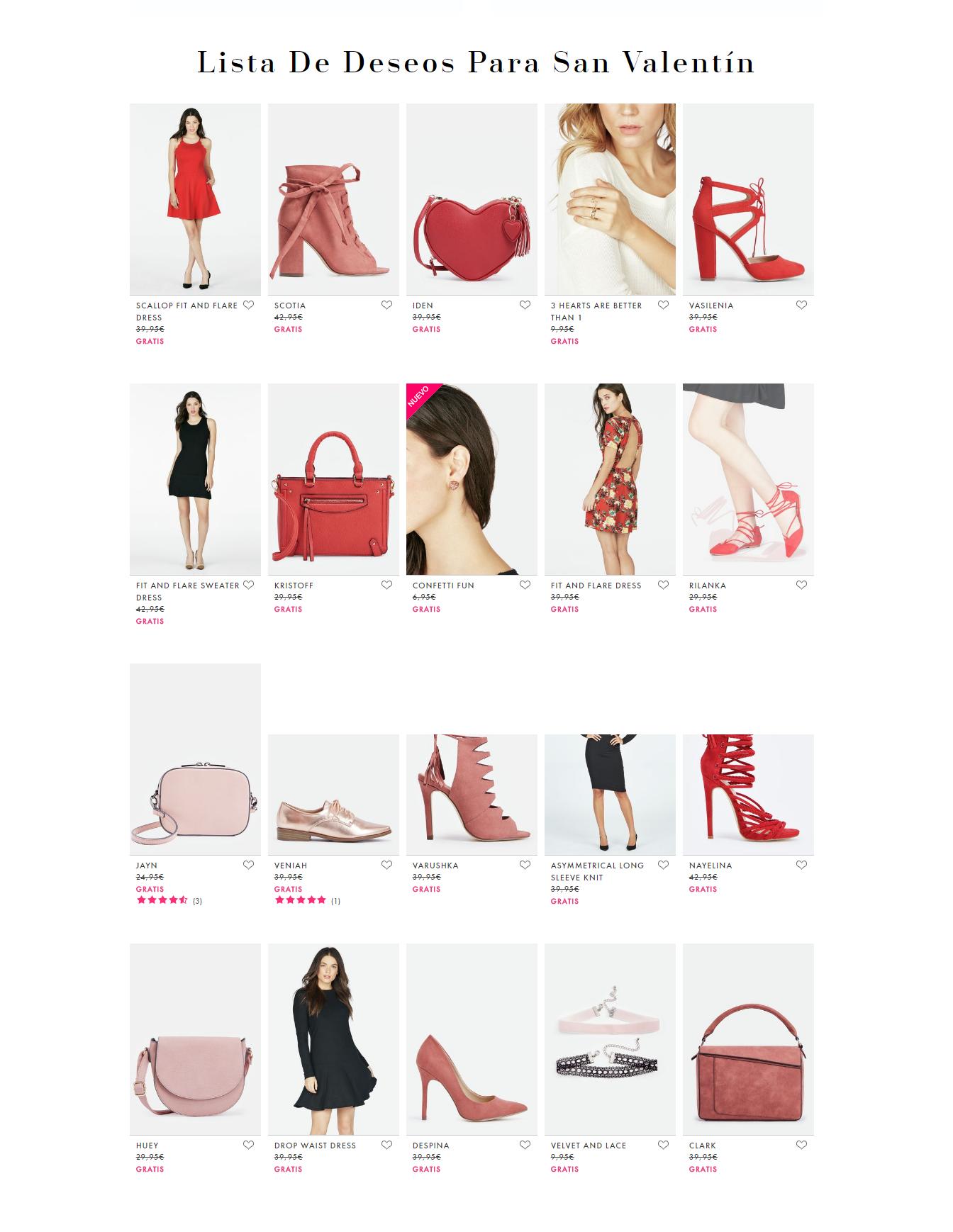 acciones marketing san valentin - lista deseos JustFab