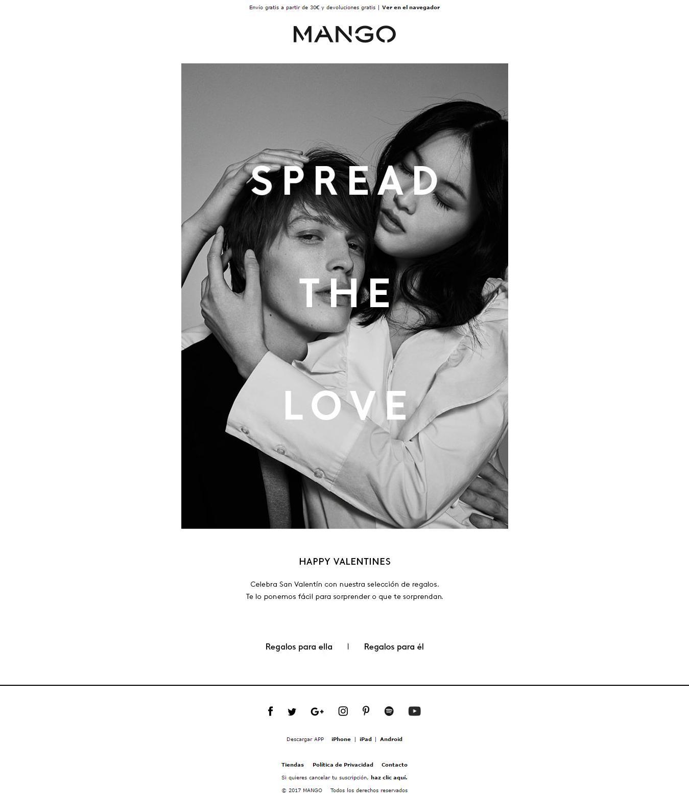 acciones marketing san valentin - newsletter mango