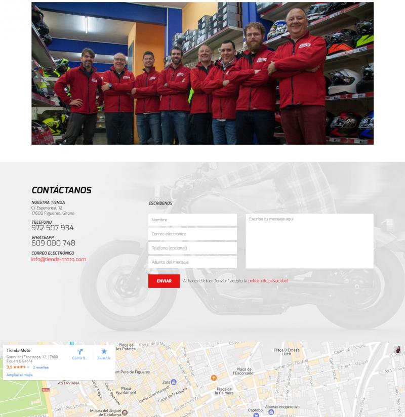 Página Quiénes somos - Tienda Moto