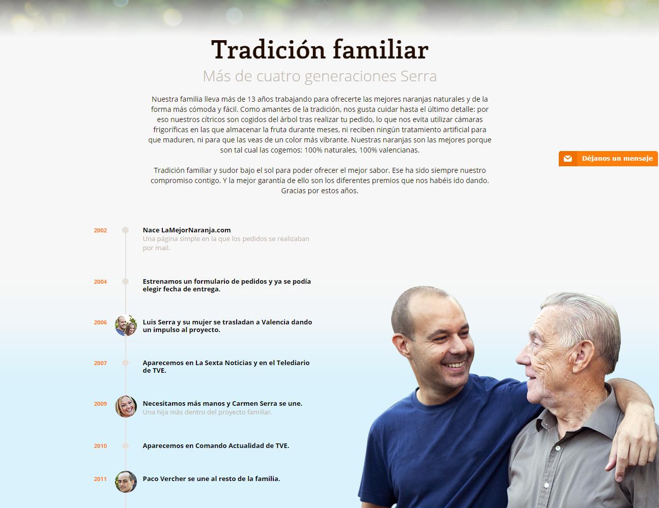 Página Quiénes somos - la Mejor Naranja