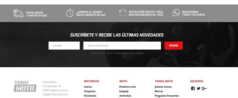 propuestas valor ecommerce Tienda Moto